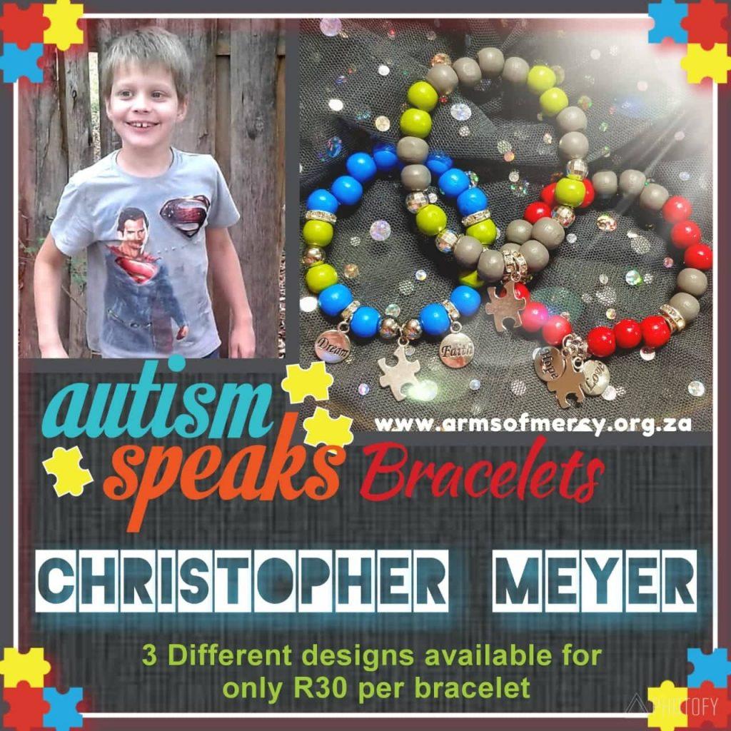 Autism Speaks Bracelets for Christopher Meyer © Arms of Mercy NPC