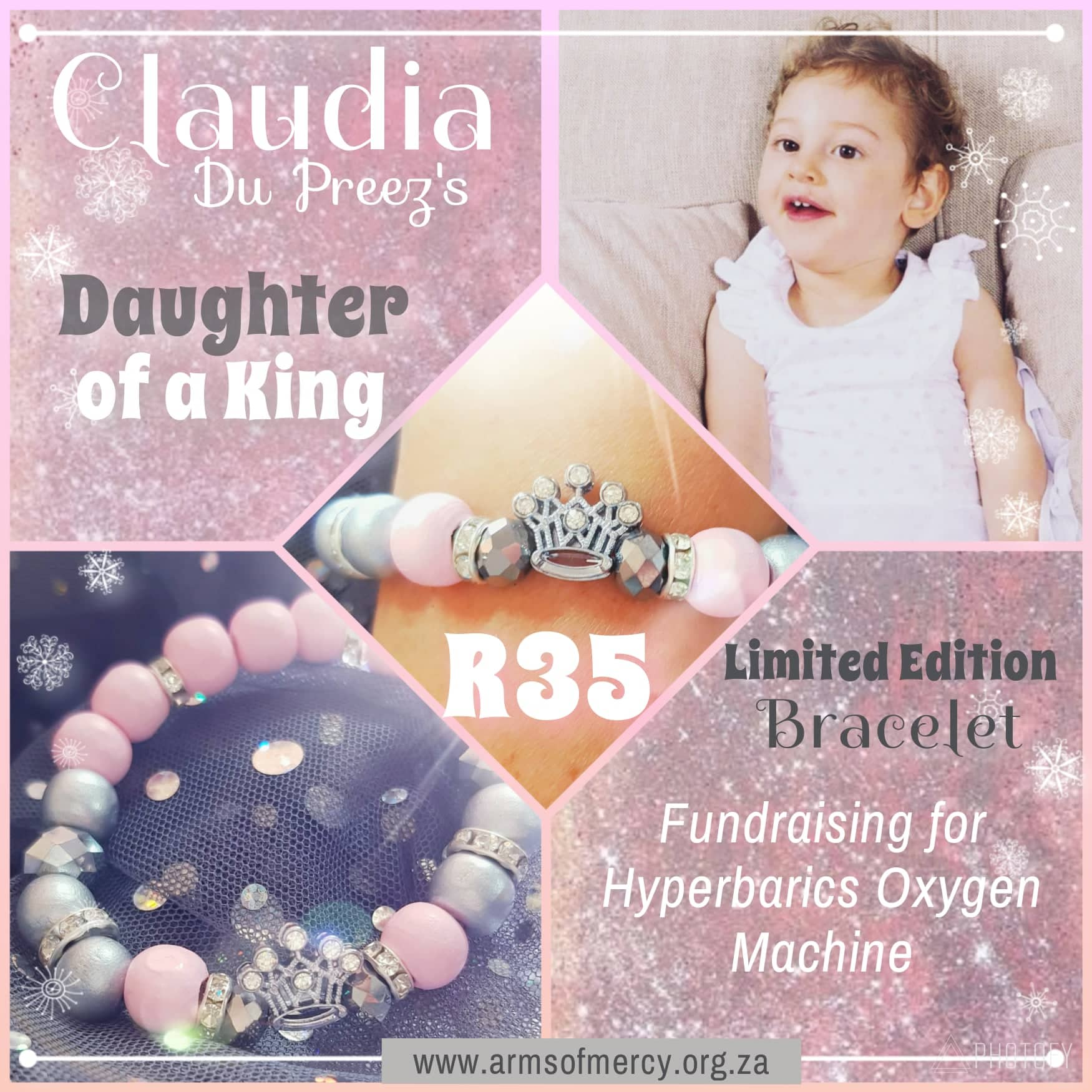 Daughter of a King Bracelet for Claudia Du Preez - Limited Edition - Arms of Mercy NPC