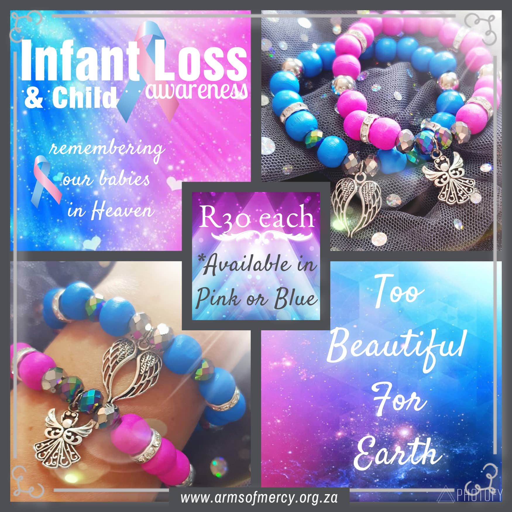 Infant and Child Loss Awareness Bracelets © Arms of Mercy NPC
