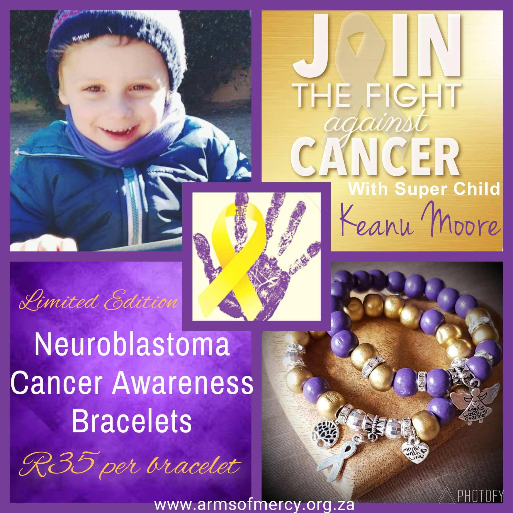NEW Neuroblastoma Cancer Awareness Bracelets for Keanu Moore - Arms of Mercy NPC