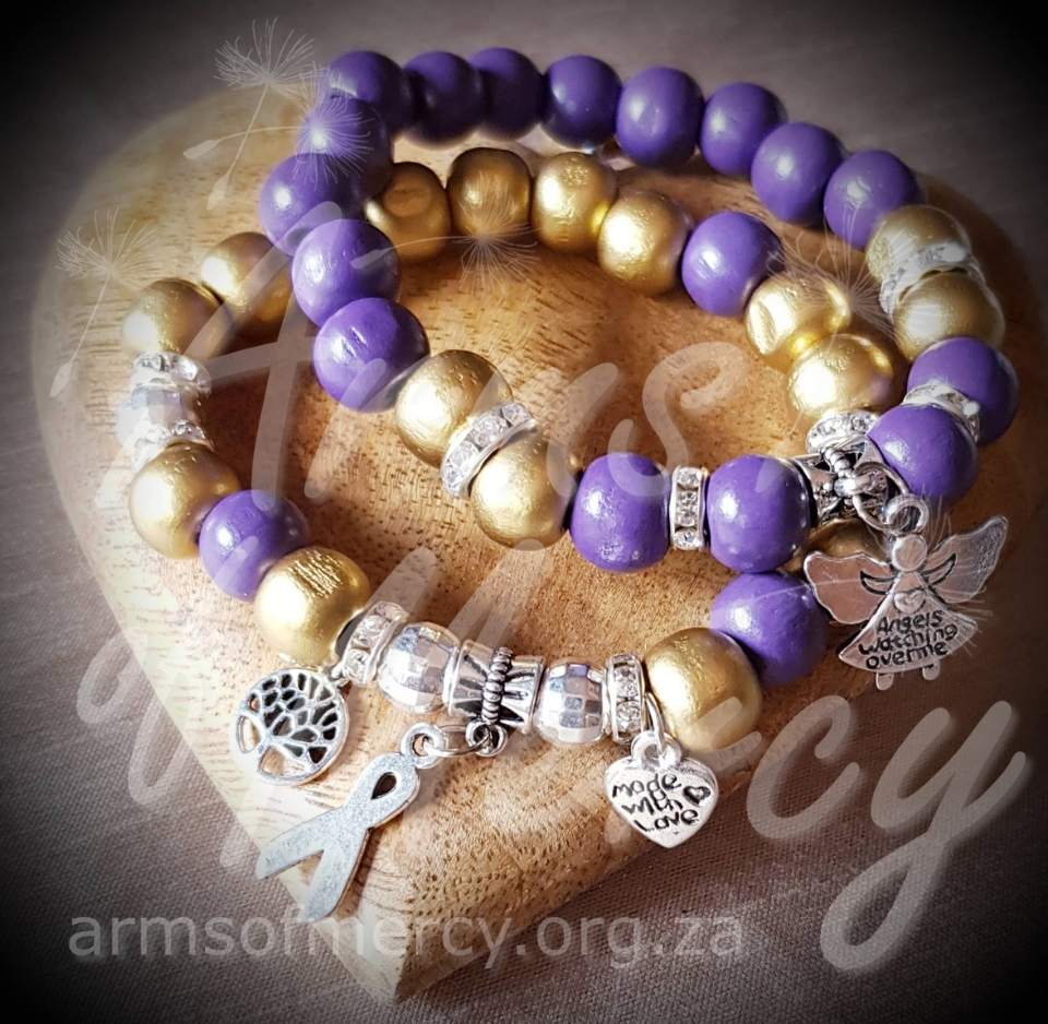 Gold Purple Neuroblastoma Cancer Awareness Bracelets © Arms of Mercy NPC