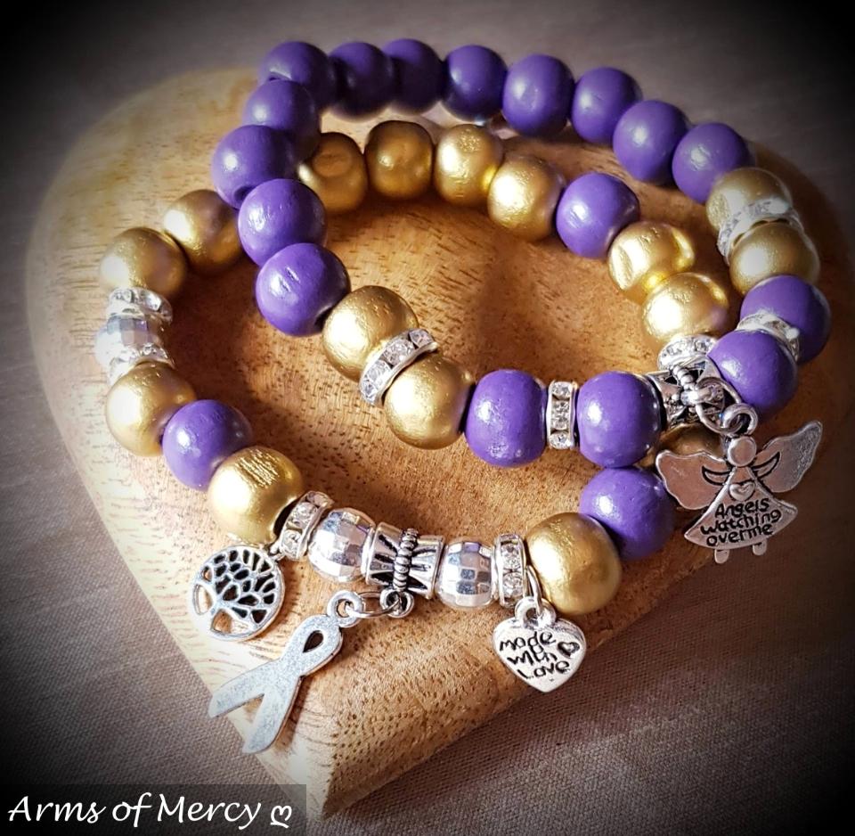 Gold Purple Neuroblastoma Cancer Awareness Bracelets © Arms of Mercy NPC