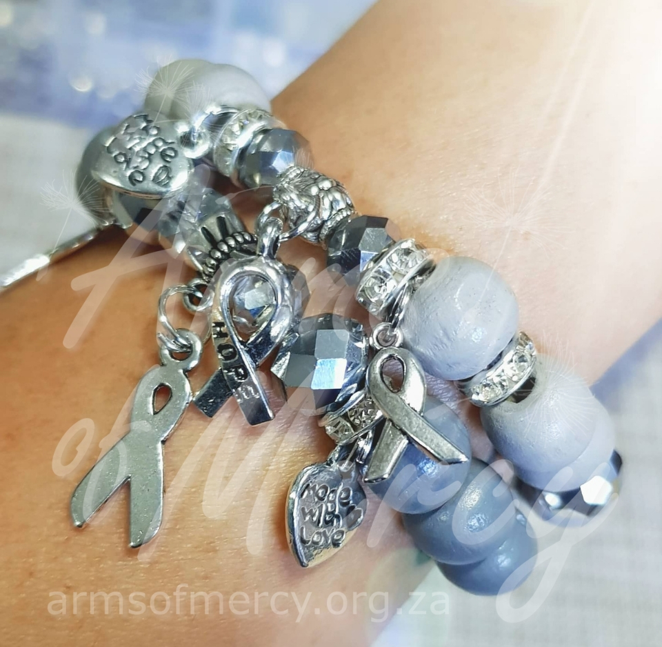 Grey Brain Cancer Awareness Bracelets - Arms of Mercy NPC