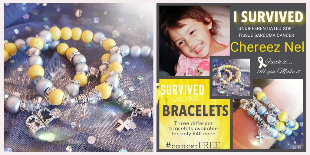 I Survived Sarcoma Cancer Bracelets for Chereez Nel - Arms of Mercy NPC