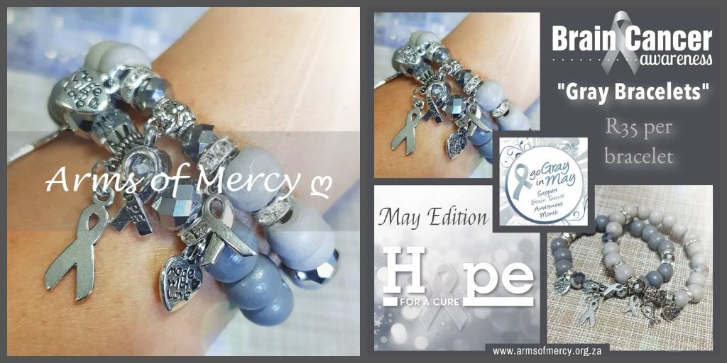 brain cancer awareness bracelets - arms of mercy npc