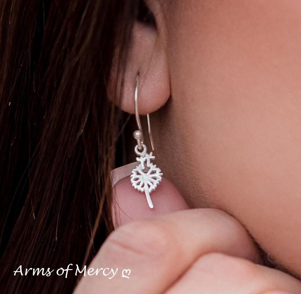Sterling Silver Dandelion Earrings - Dandelion Jewellery - Arms of Mercy NPC