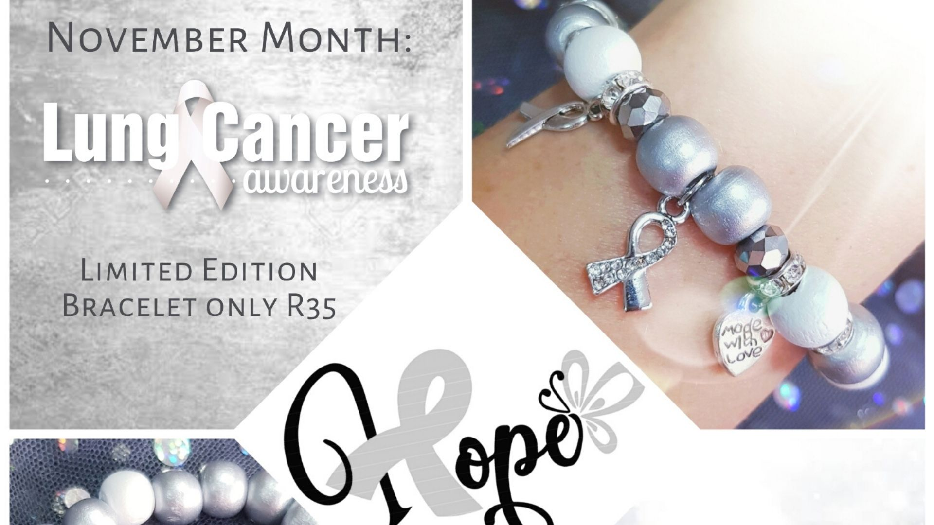 lung cancer awareness bracelet - arms of mercy npc