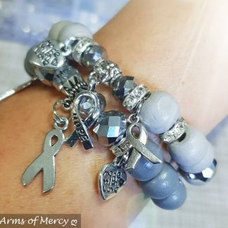 Grey Brain Cancer Awareness Bracelets © Arms of Mercy NPC