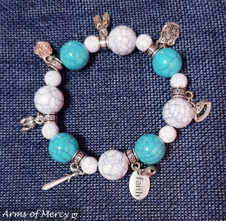 Marble Glass Bracelet with Full Armour of God Charms © Arms of Mercy NPC
