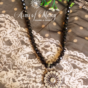 Black Crystal Necklace with Round Diamante Pendant