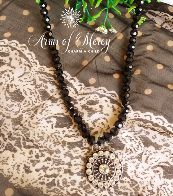 Black Crystal Necklace with Round Diamante Pendant