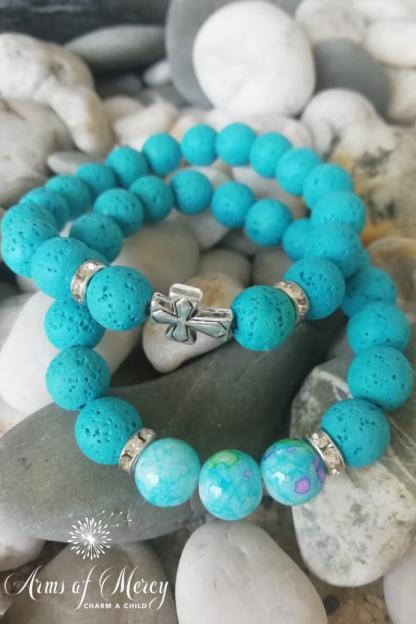 turquoise lava beads bracelet - arms of mercy npc