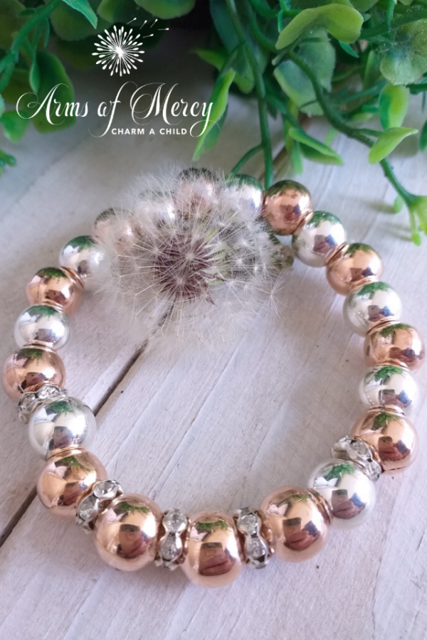 Silver and Rose Gold Bead Bracelet