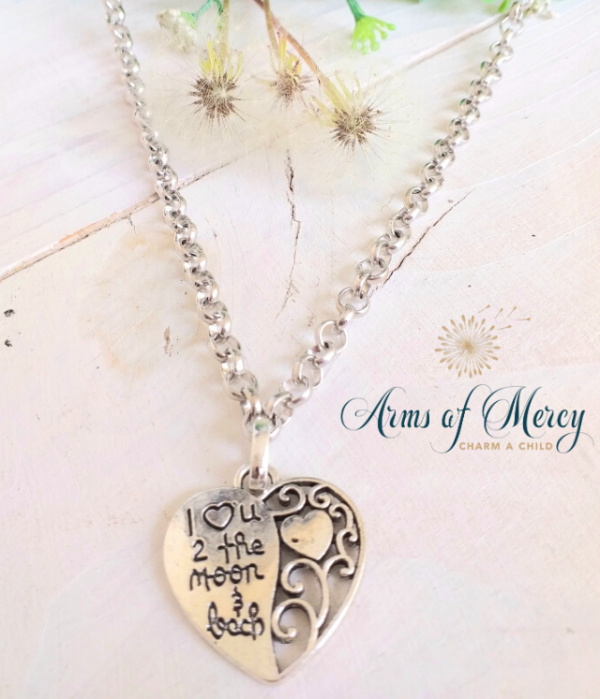Silver Cut-Out Heart Pendant on Silver Chain – Love You to the Moon
