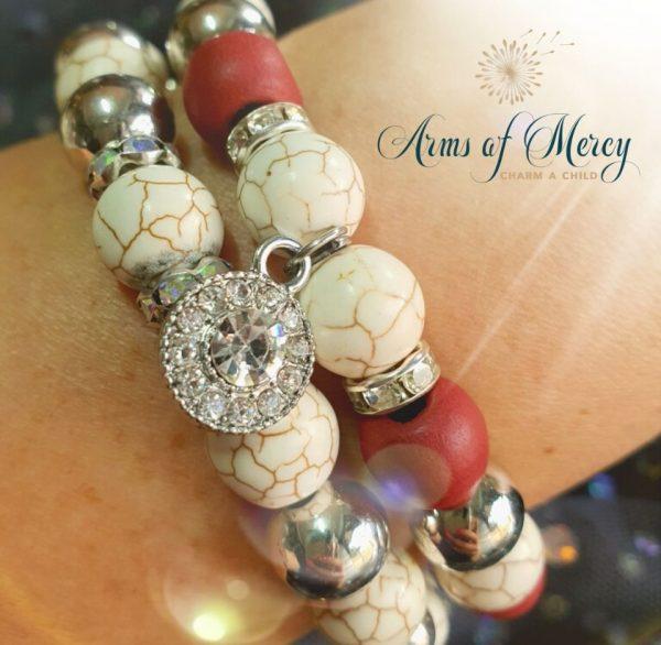 Maroon Marble Bead Bracelets © Arms of Mercy NPC