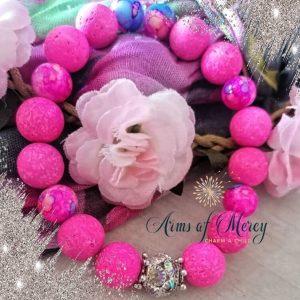 Cerise Cerise Pink Lava Beads Bracelet © Arms of Mercy NPC