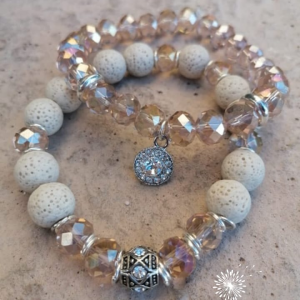 Beige Lava and Crystal Beads Bracelet © Arms of Mercy NPC