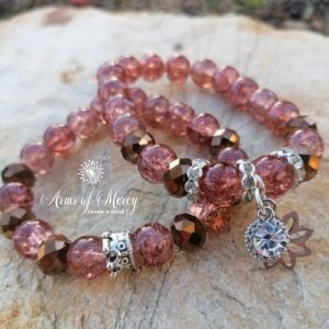 Crackling Brown and Bronze Crystal Beads Bracelet © Arms of Mercy NPC.