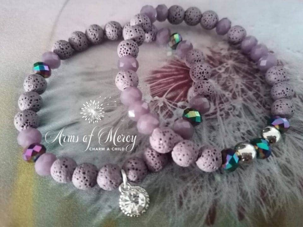 Mauve Lava and Crystal Beads Bracelet © Arms of Mercy NPC