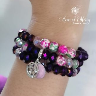 Purple Crystals and Pagodite Beads Bracelet