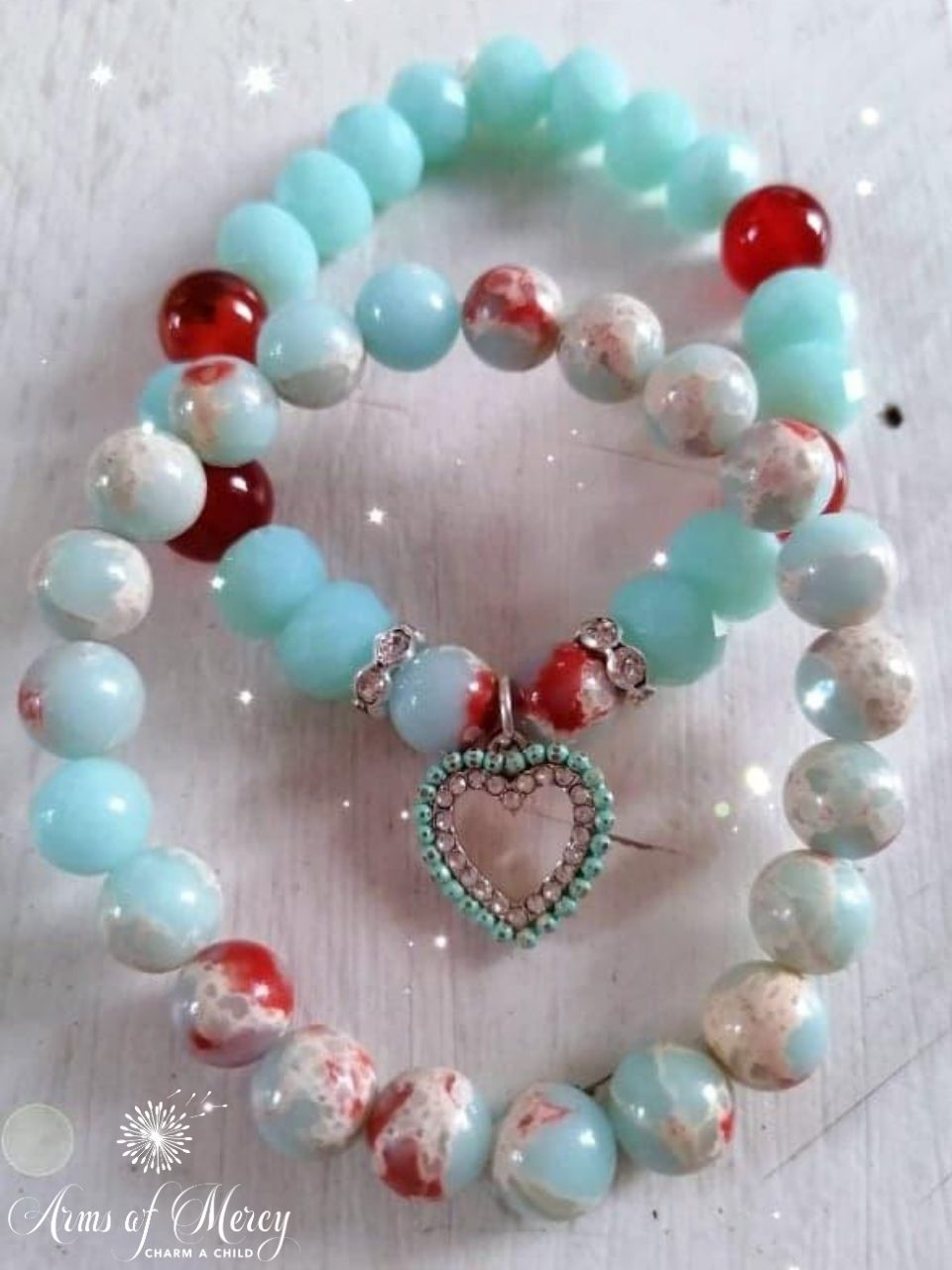 Turquoise Crystal and Pagodite Beads Bracelet Set © Arms of Mercy NPC