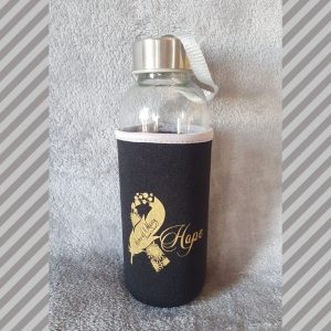 Glass Water Bottle and Neoprene Sleeve - Hope Collection © Arms of Mercy NPC