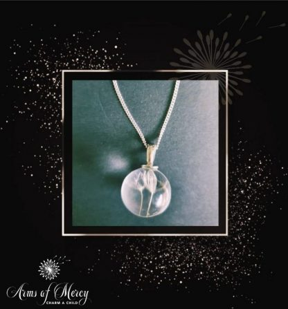Round Glass Dandelion Pendant with Sterling Silver Chain © Arms of Mercy NPC