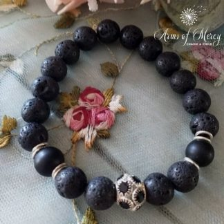Black Lava Beads Bracelet with Diamante Ball © Arms of Mercy NPC