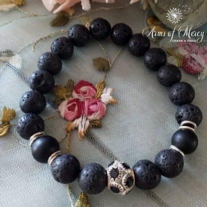 Black Lava Beads Bracelet with Diamante Ball © Arms of Mercy NPC