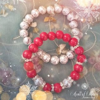 Red Wood and Silver Lava Beads Bracelet Set © Arms of Mercy NPC