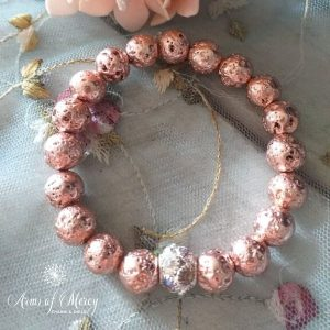 Rose Gold Electroplated Lava Beads Bracelet © Arms of Mercy NPC
