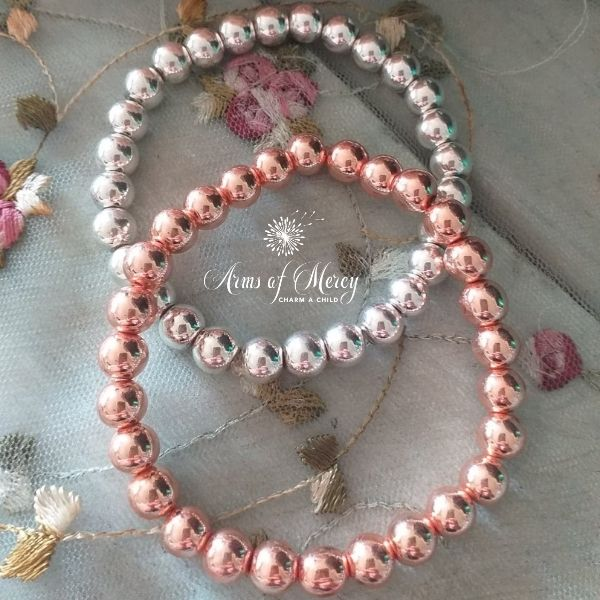 Silver and Rose Gold Electroplated Beads Bracelet © Arms of Mercy NPC