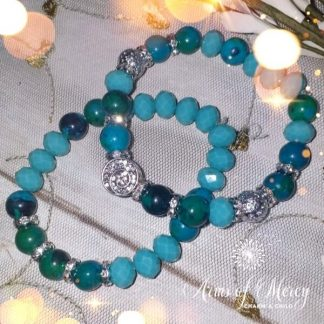 Turquoise Crystal and Tiger Eye Beads Bracelets Set © Arms of Mercy NPC