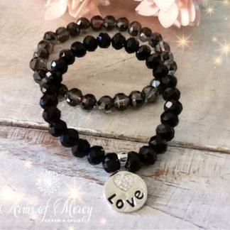 Black Crystal Beads Bracelet Set with Love Charm © Arms of Mercy NPC