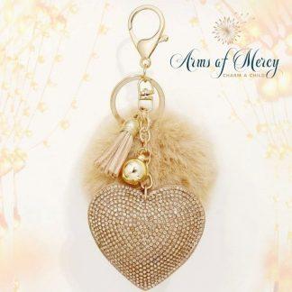 Rhinestone Heart and Pom Pom Charm Key Chain © Arms of Mercy NPC